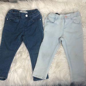 Lot of 2 Zara baby denim skinny jeans 12-18 Mnths